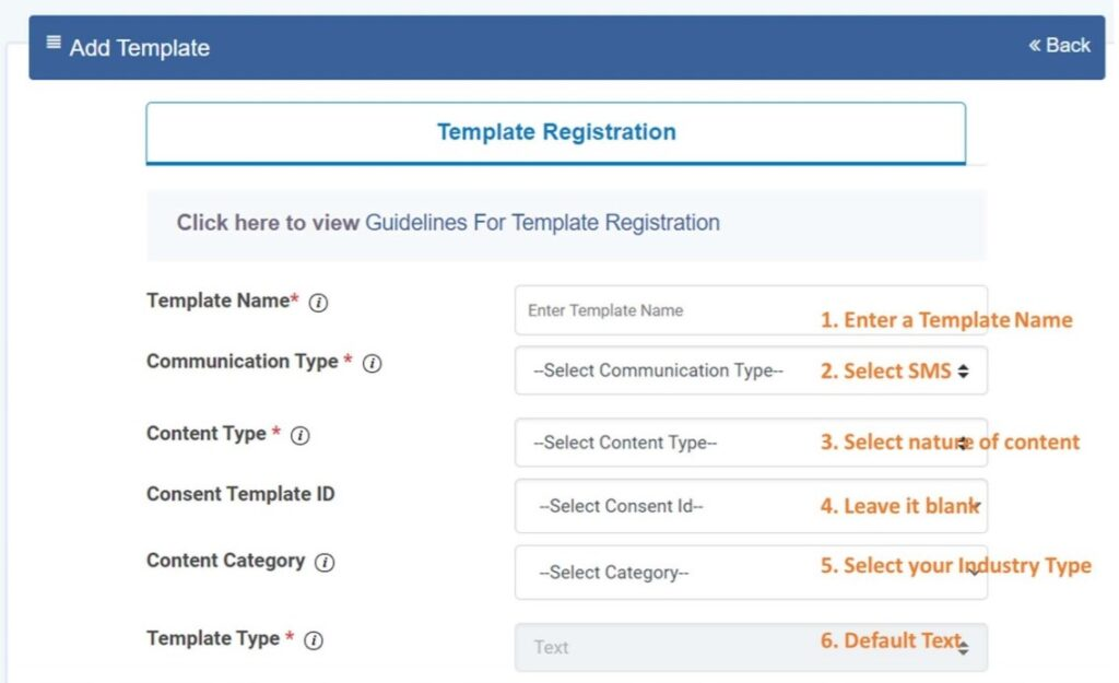SMS Template registration process on DLT registered telecom operators platform.